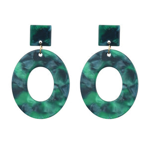Green & Blue Oval Resin Earrings