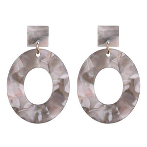 Grey Marble Oval Resin Earrings