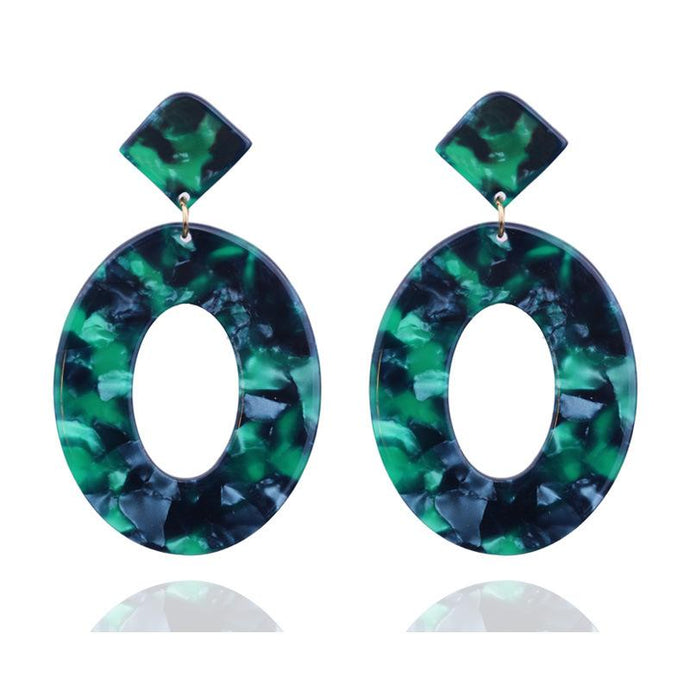 Large Green & Blue Oval Resin Earrings