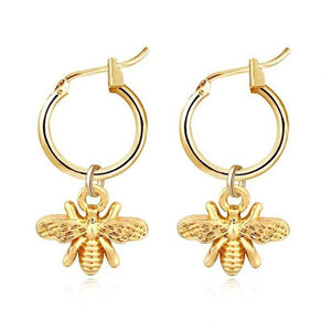 Gold Bee Hoop Earrings