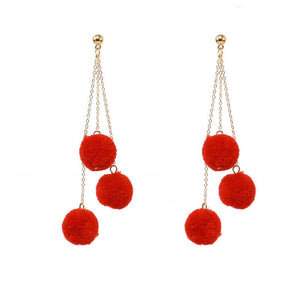 Triple Pom Pom Earrings (Red)