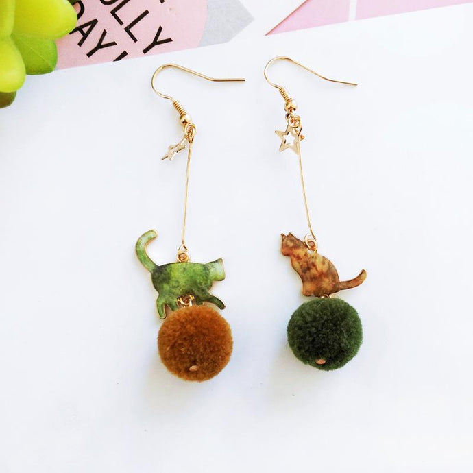 Green Cat Pom Pom Earrings (Gold Plated)