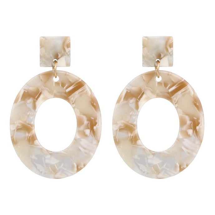 Toffee Marble Oval Resin Earrings
