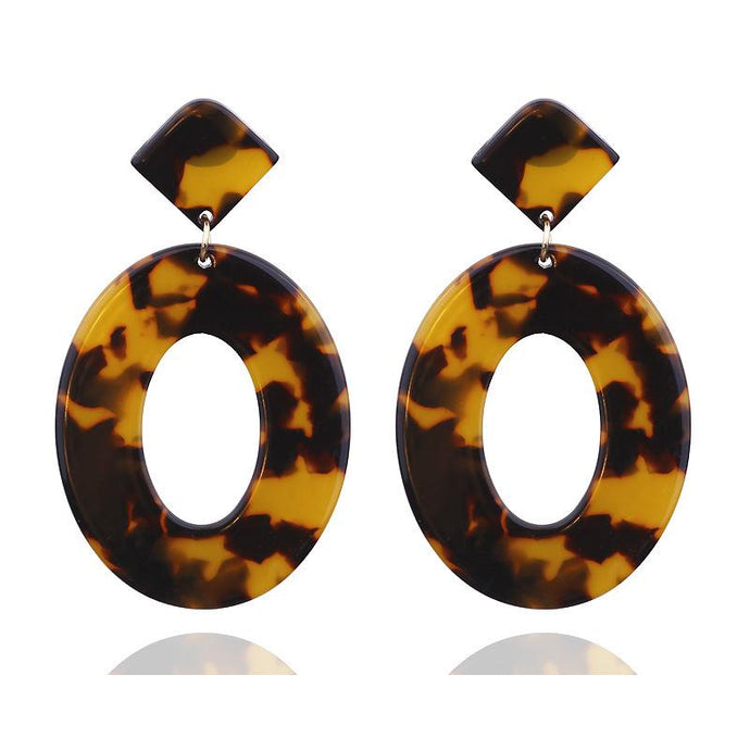 Light Tortie Oval Resin Earrings