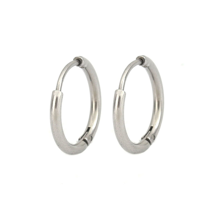14mm Stainless Steel Hoop Earrings