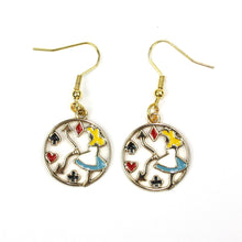 Load image into Gallery viewer, Tick Tock On The Alice Clock Earrings