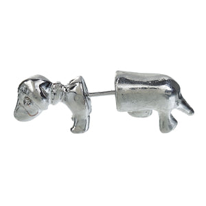 Silver Sausage Dog 2 Piece Stud Earrings