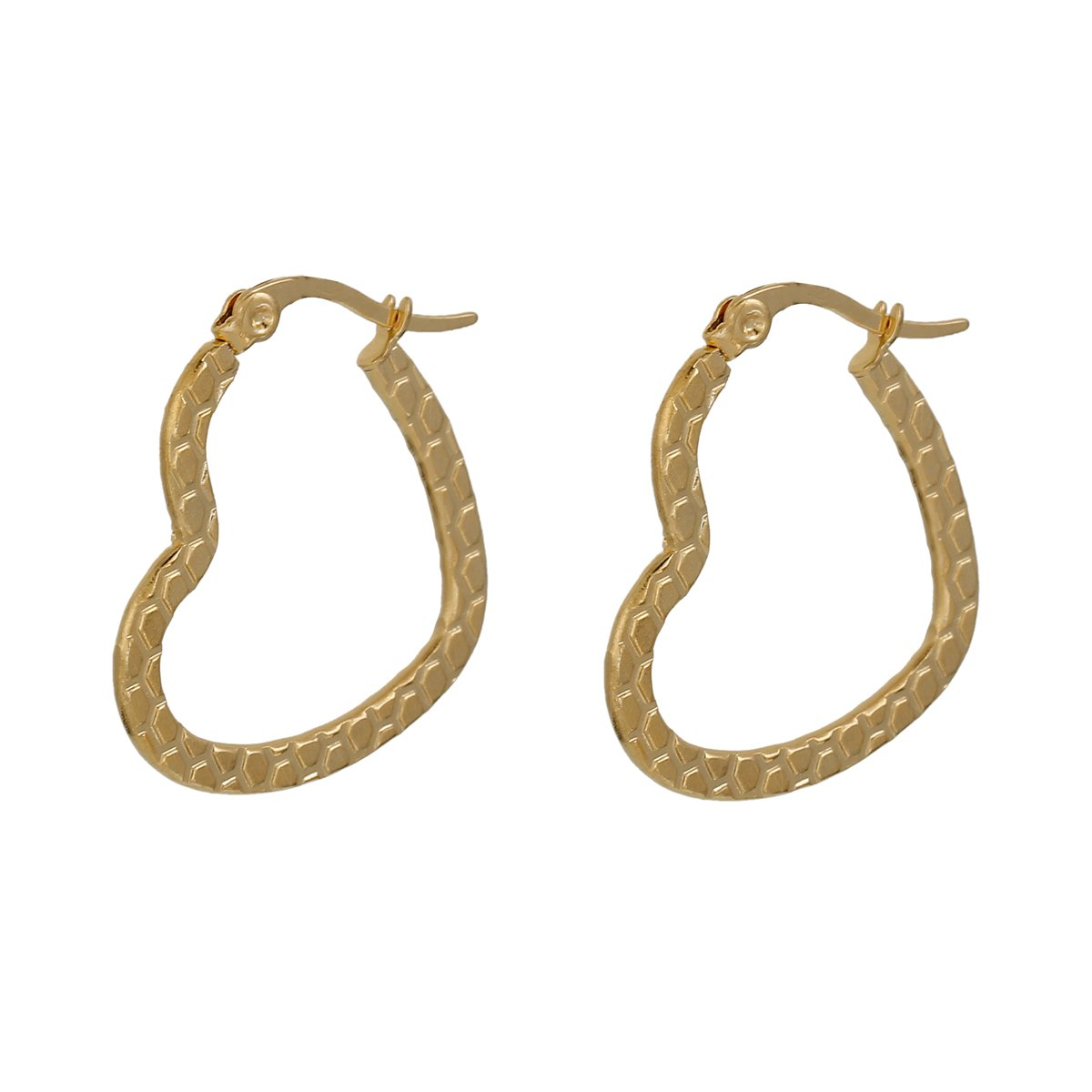 Textured Gold Heart Hoop Earrings
