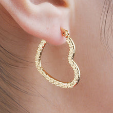 Load image into Gallery viewer, Textured Gold Heart Hoop Earrings