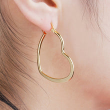 Load image into Gallery viewer, Gold Heart Hoop Earrings