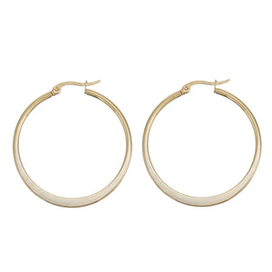 304 Stainless Steel Hoop Earrings Gold Plated Round 41mm