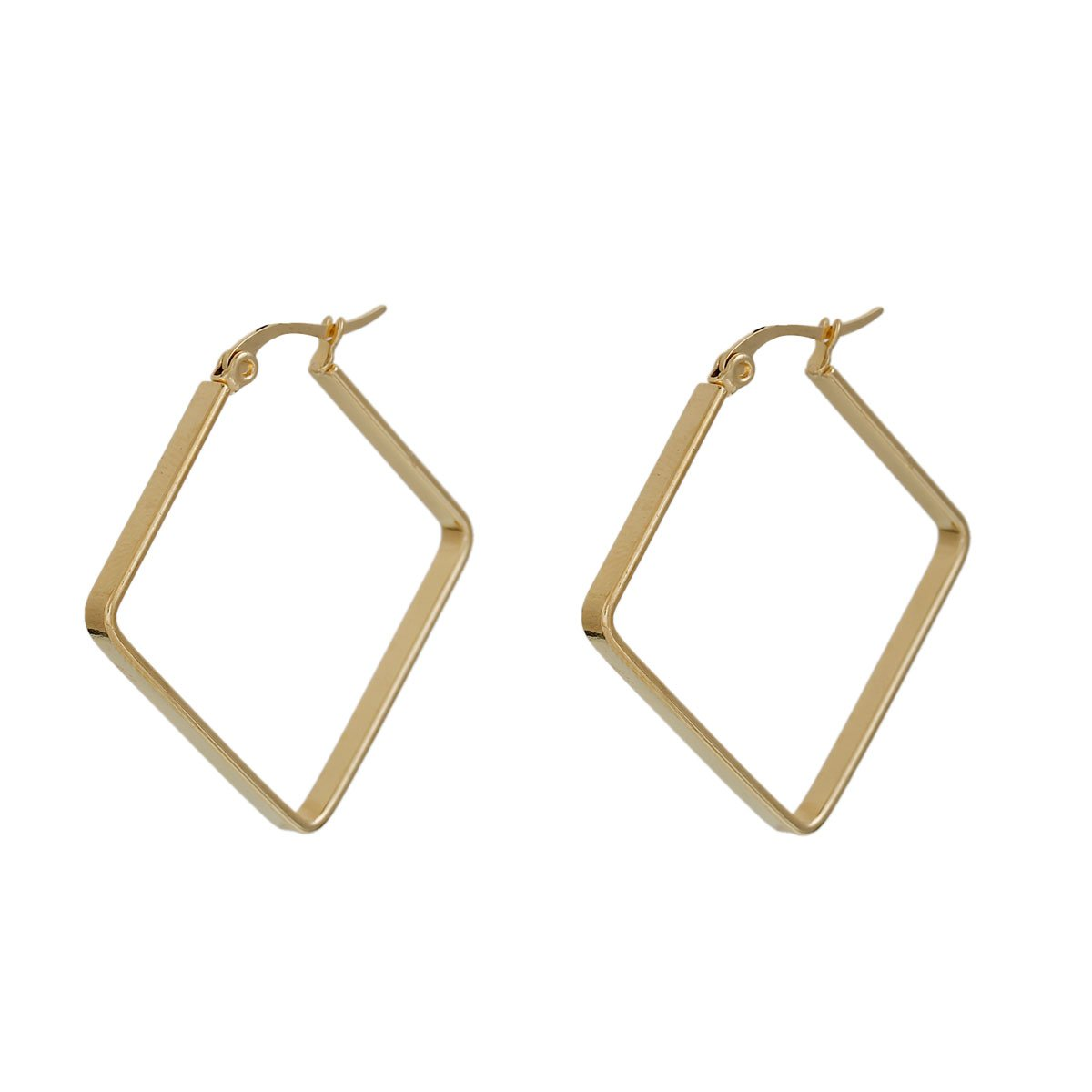 304 Stainless Steel Hoop Earrings Gold Plated Rhombus 38mm