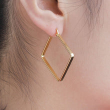 Load image into Gallery viewer, 304 Stainless Steel Hoop Earrings Gold Plated Rhombus 38mm