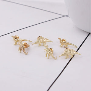 6 piece Dinosaur Earring Set/Gold Plated