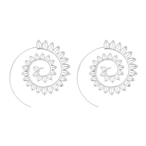 Lotus Flower Spiral Earrings (Silver Plated)