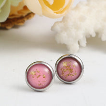 Load image into Gallery viewer, Pink & Gold Fleck Studs