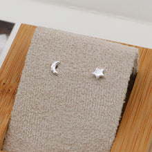 Load image into Gallery viewer, Sterling Silver Star & Moon Studs