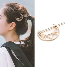 Load image into Gallery viewer, Geometric Crescent Moon Hair Grip (Gold Plated)
