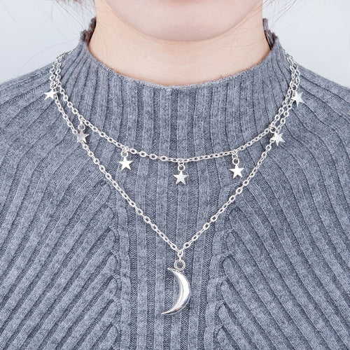 Moon & Star Layered Necklace (Silver Plated)