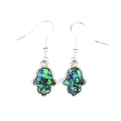 Silver Opal Hamsa Hand Earrings