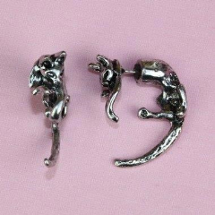Cat 2 Piece Earrings (Silver Plated)