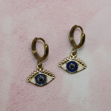 Load image into Gallery viewer, Gold Plated Eye Hoop Earrings