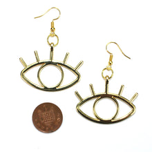 Load image into Gallery viewer, Large Gold Eye Earrings