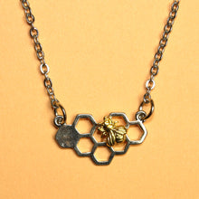 Load image into Gallery viewer, Silver Honeycomb Necklace
