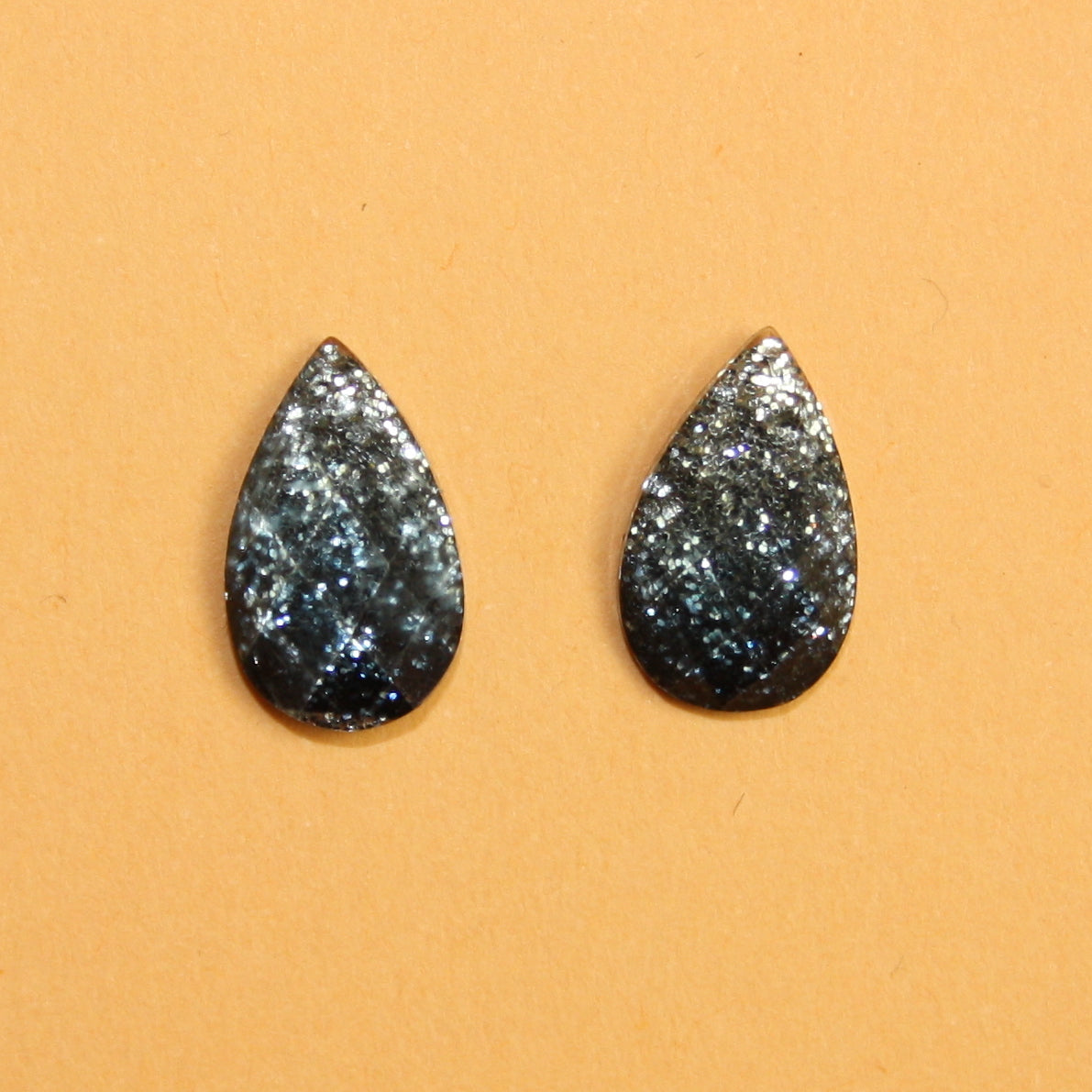 Silver Black Glitter Drop Stud Earrings
