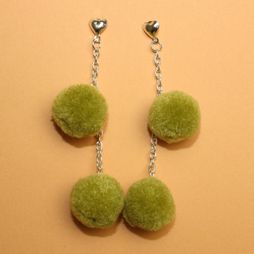 Green Pom Pom Earrings