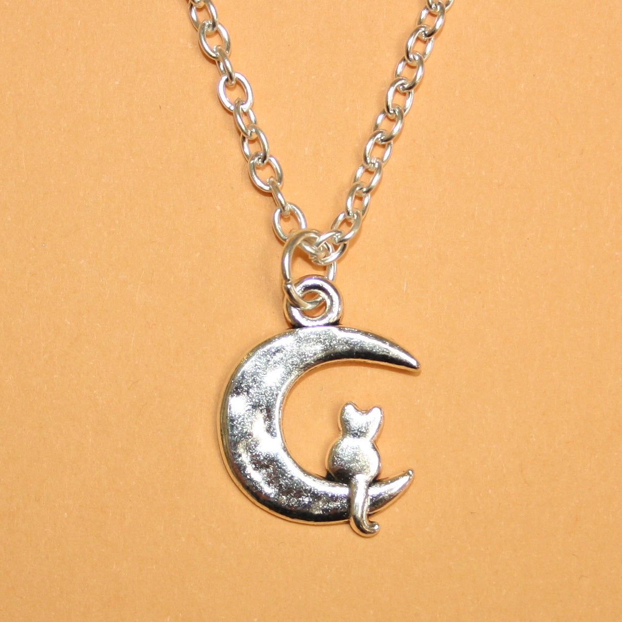 Moon and Cat Necklace