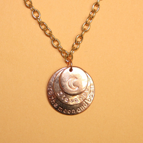 I Love You To The Moon & Back Rose Gold Necklace