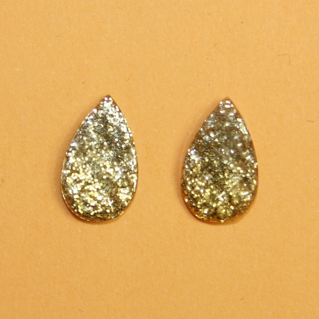 Gold Glitter Drop Stud Earrings