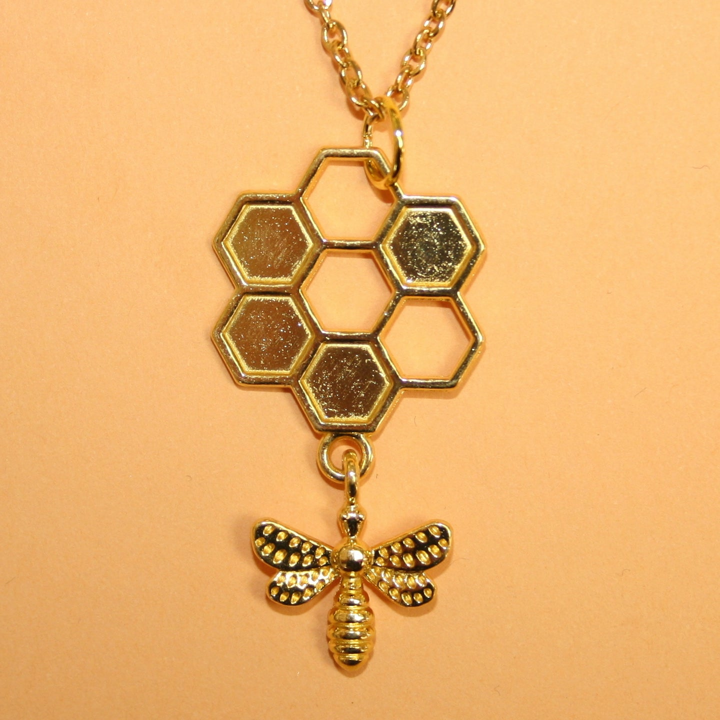 Circle Honeycomb and Bee Necklace