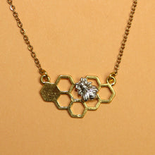 Load image into Gallery viewer, Gold Honeycomb Necklace
