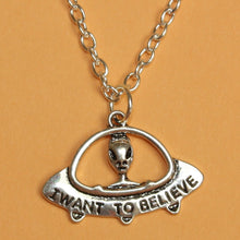 Load image into Gallery viewer, I Want To Believe UFO Necklace