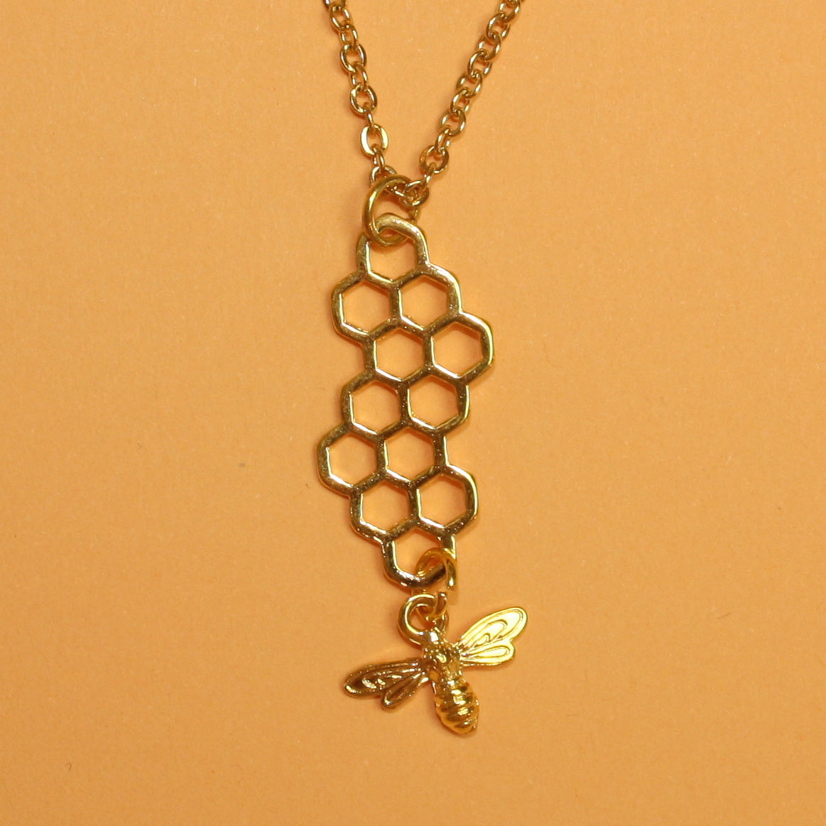 Long Honeycomb and Bee Necklace