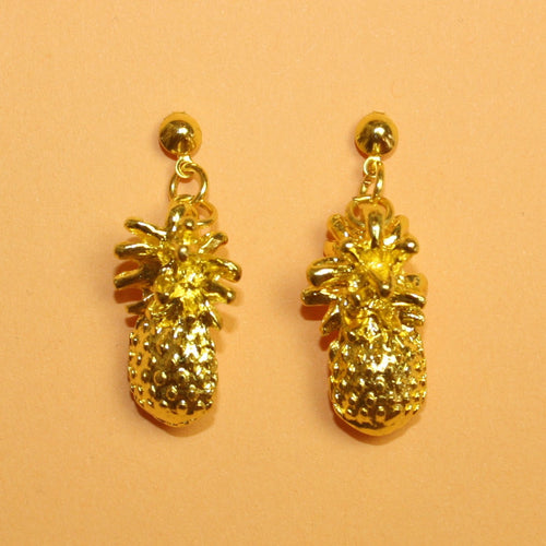 Gold 3D Pineapple Earrings