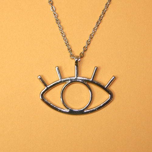 Large Silver Eye Necklace