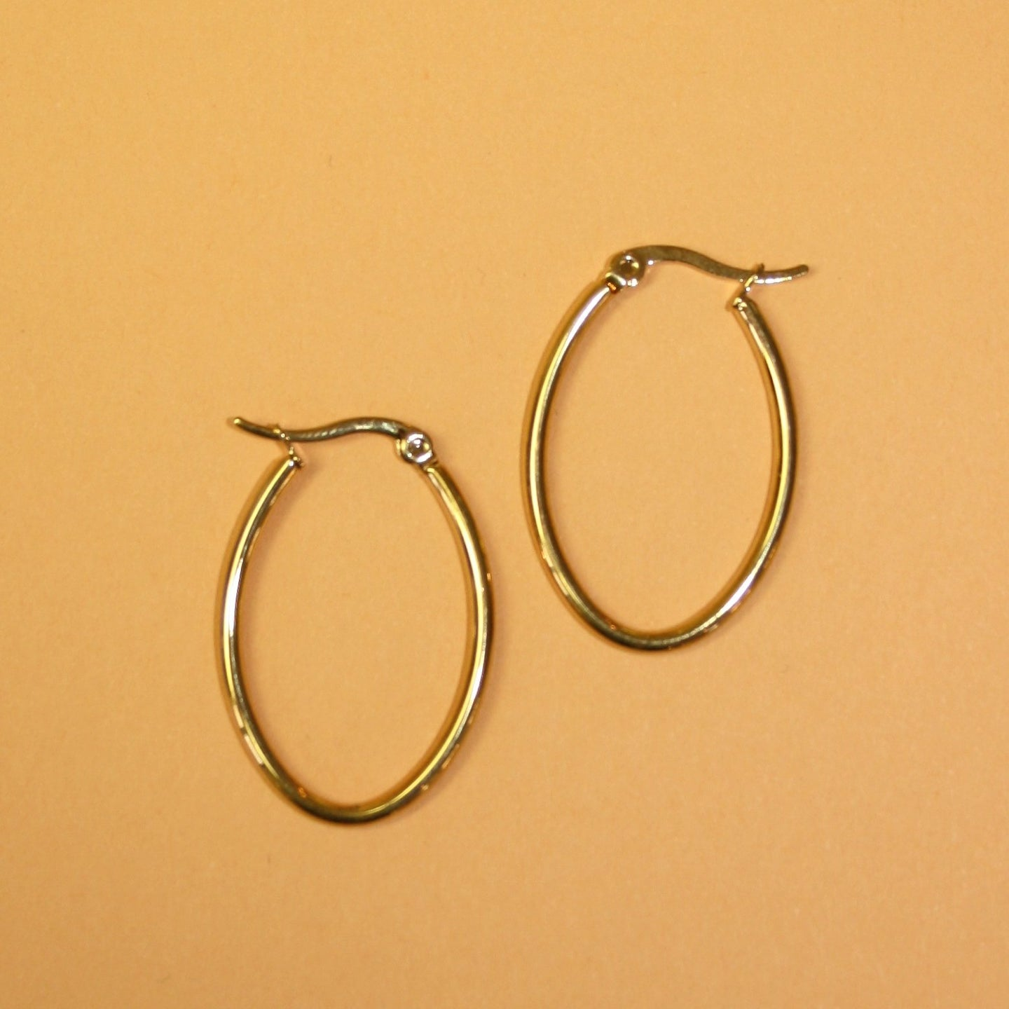 316 Stainless Steel Hoop Earrings Gold Plated Oval 30mm
