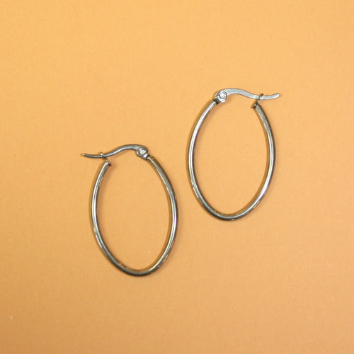 316 Stainless Steel Hoop Earrings Silver Tone Oval 30mm