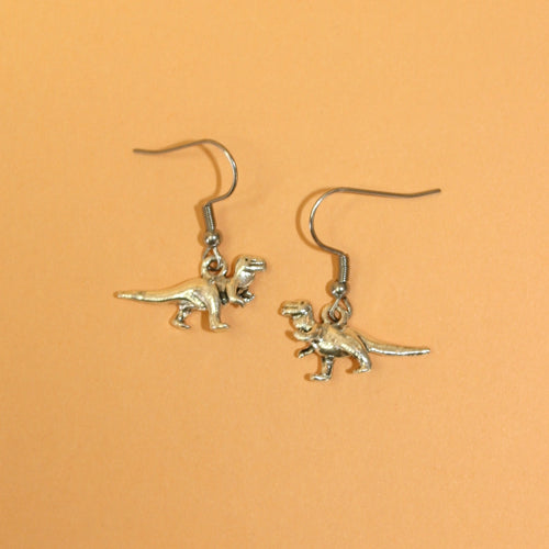 Silver T-Rex dinosaur Earrings
