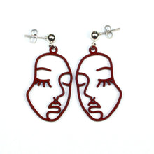 Load image into Gallery viewer, Large Face Earrings (Burgundy)
