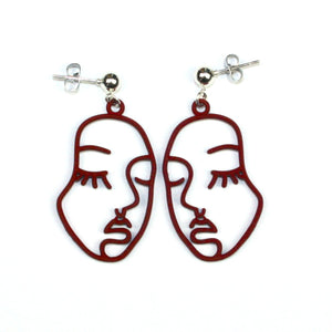 Large Face Earrings (Burgundy)