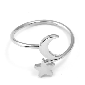 Star & Moon Ring (Silver Plated)