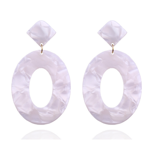 White Marble Oval Resin Earrings