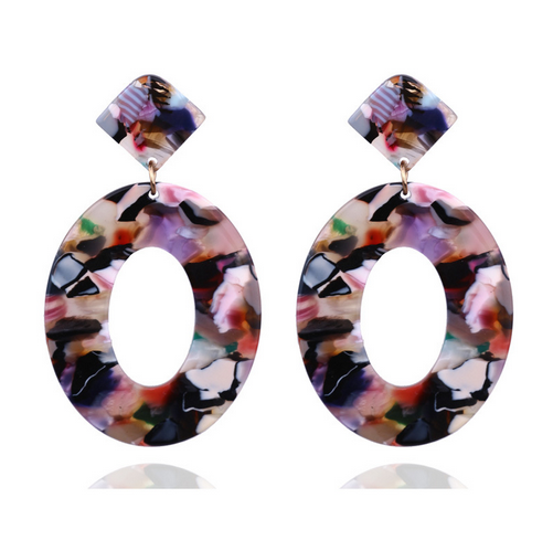 Confetti Oval Resin Earrings