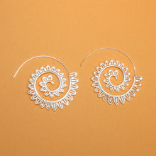 Load image into Gallery viewer, Lotus Flower Spiral Earrings (Silver Plated)