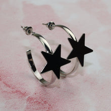 Load image into Gallery viewer, Silver Star Hoop Earrings