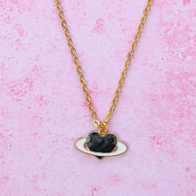 Load image into Gallery viewer, Black Heart Planet Necklace